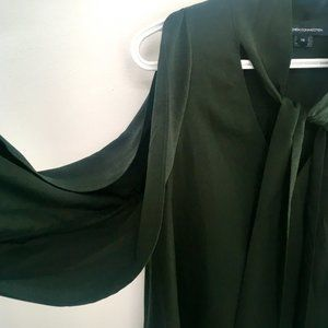 French Connection Tops - French Connection Dark Green Tie Neck Blouse